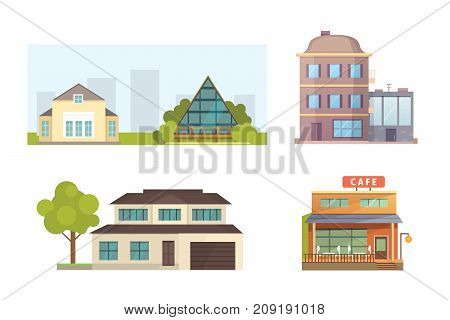 Set of different styles residential houses. City architecture retro and modern buildings. House front cartoon vector illustrations.