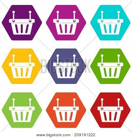 Shopping cart icon set many color hexahedron isolated on white vector illustration