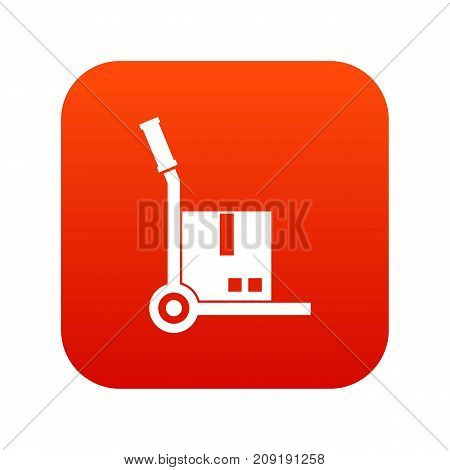 Truck with cargo icon digital red for any design isolated on white vector illustration