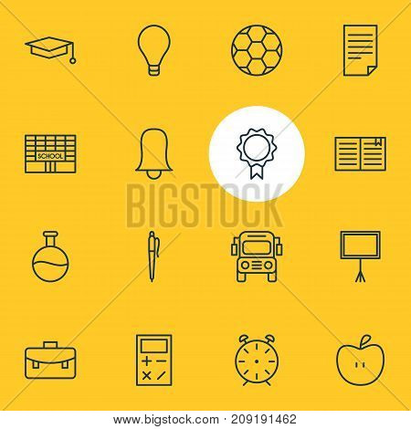 Editable Pack Of Football, Fruit, Bulb And Other Elements.  Vector Illustration Of 16 Studies Icons.