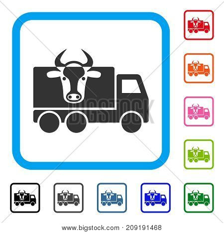 Cow Transportation icon. Flat grey iconic symbol inside a light blue rounded rectangular frame. Black, gray, green, blue, red, orange color variants of Cow Transportation vector.