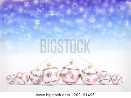red christmas balls on blue bokeh background with snowflakes - 3D illustration