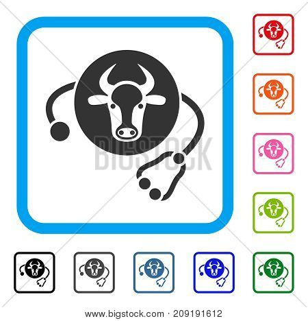 Cow Veterinary icon. Flat gray iconic symbol in a light blue rounded square. Black, gray, green, blue, red, orange color additional versions of Cow Veterinary vector. Designed for web and software UI.