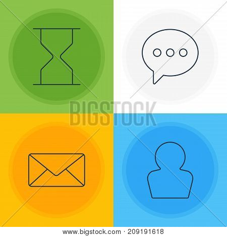 Editable Pack Of Envelope, Avatar, Hourglass And Other Elements.  Vector Illustration Of 4 UI Icons.