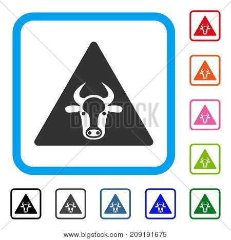 Cow Warning icon. Flat grey pictogram symbol inside a light blue rounded frame. Black, gray, green, blue, red, orange color versions of Cow Warning vector. Designed for web and app UI.