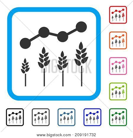 Crop Analytics icon. Flat grey pictogram symbol in a light blue rounded square. Black, gray, green, blue, red, orange color additional versions of Crop Analytics vector.