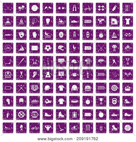 100 sport team icons set in grunge style purple color isolated on white background vector illustration