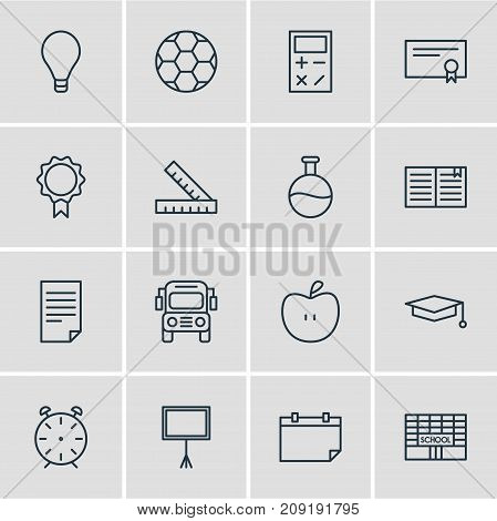 Editable Pack Of Diploma, Car, Paper And Other Elements.  Vector Illustration Of 16 Science Icons.