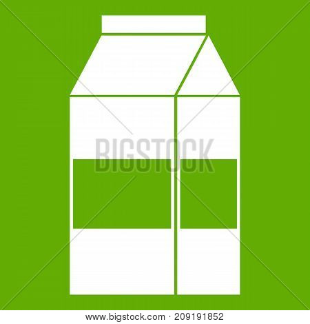 Box of milk icon white isolated on green background. Vector illustration