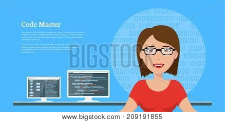 picture of a smart programmer woman, with computer monitors on background, flat style banner design, coding, programming, application development concept