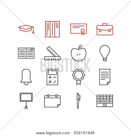 Editable Pack Of Calculate, Pencil, Write Table And Other Elements.  Vector Illustration Of 16 Science Icons.