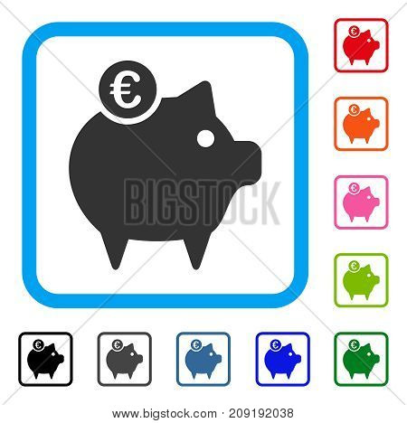 Euro Piggy Bank icon. Flat gray iconic symbol inside a light blue rounded frame. Black, gray, green, blue, red, orange color additional versions of Euro Piggy Bank vector. Designed for web and app UI.