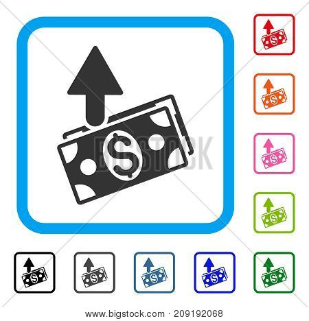 Expences icon. Flat gray pictogram symbol inside a light blue rounded square. Black, gray, green, blue, red, orange color variants of Expences vector. Designed for web and app interfaces.
