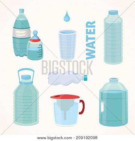 Set Plastic bottle of pure water, different bottle design vector illustration in cartoon style
