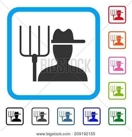 Farmer With Pitchfork icon. Flat gray pictogram symbol in a light blue rounded rectangle. Black, gray, green, blue, red, orange color additional versions of Farmer With Pitchfork vector.