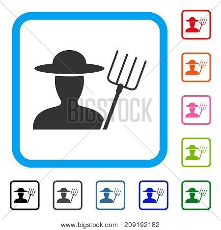 Farmer With Pitchfork icon. Flat gray pictogram symbol inside a light blue rounded frame. Black, gray, green, blue, red, orange color versions of Farmer With Pitchfork vector.