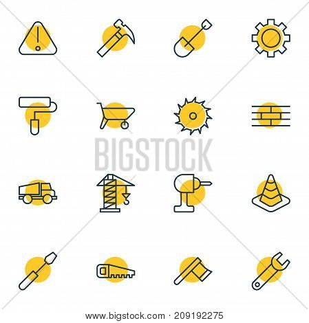Editable Pack Of Hacksaw, Cogwheel, Lifting And Other Elements.  Vector Illustration Of 16 Structure Icons.