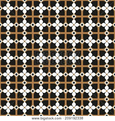 Seamless vintage pattern background in black and gold