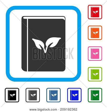 Flora Book icon. Flat grey pictogram symbol in a light blue rounded rectangular frame. Black, gray, green, blue, red, orange color additional versions of Flora Book vector.