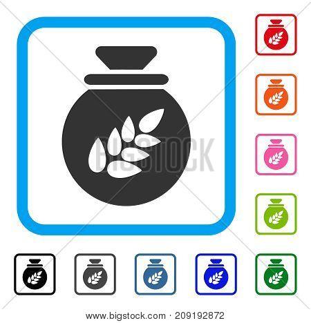 Grain Harvest Sack icon. Flat grey pictogram symbol in a light blue rounded frame. Black, gray, green, blue, red, orange color variants of Grain Harvest Sack vector. Designed for web and software UI.
