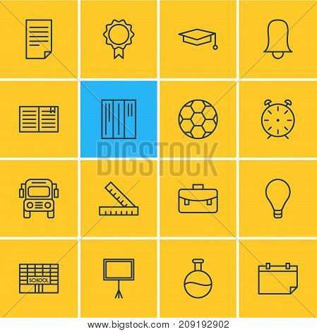 Editable Pack Of Meter, Tube, School And Other Elements.  Vector Illustration Of 16 Studies Icons.