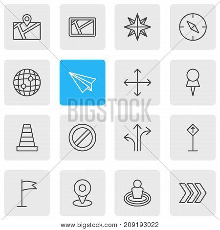 Editable Pack Of Pin, Map, Navigation And Other Elements.  Vector Illustration Of 16 Direction Icons.