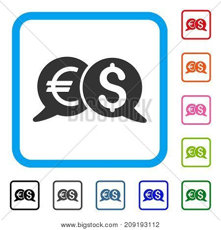 International Payments icon. Flat grey pictogram symbol inside a light blue rounded rectangle. Black, gray, green, blue, red, orange color versions of International Payments vector.