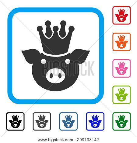 King Pig icon. Flat gray pictogram symbol inside a light blue rounded squared frame. Black, gray, green, blue, red, orange color versions of King Pig vector. Designed for web and app interfaces.