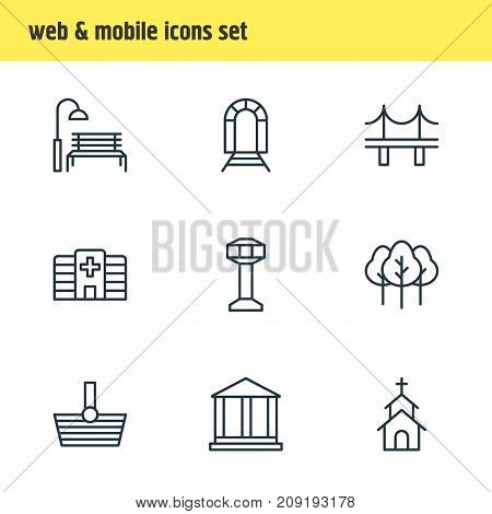 Editable Pack Of Control Tower, Courthouse, Bench And Other Elements.  Vector Illustration Of 9 Public Icons.