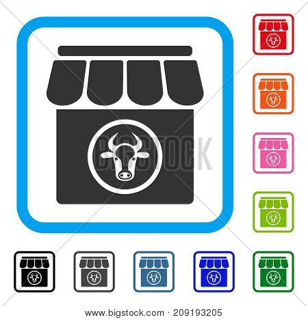 Livestock Farm icon. Flat gray pictogram symbol inside a light blue rounded square. Black, gray, green, blue, red, orange color versions of Livestock Farm vector.