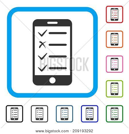 Mobile Checklist icon. Flat grey pictogram symbol inside a light blue rounded squared frame. Black, gray, green, blue, red, orange color variants of Mobile Checklist vector.