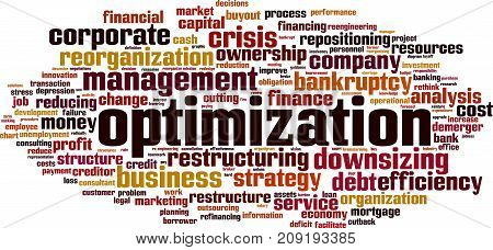 Optimization word cloud concept. Vector illustration on white