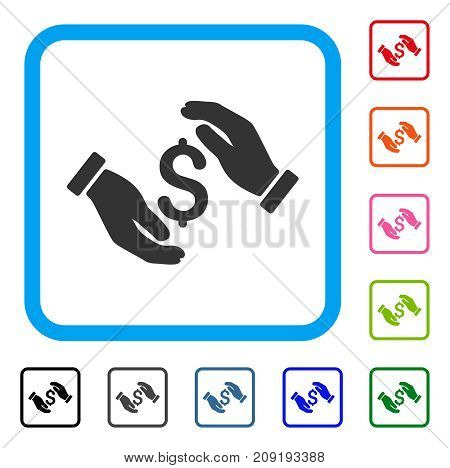 Money Insurance Hands icon. Flat gray iconic symbol inside a light blue rounded frame. Black, gray, green, blue, red, orange color versions of Money Insurance Hands vector.