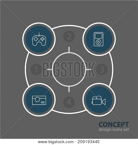Editable Pack Of Photography, Media Controller, Camcorder And Other Elements.  Vector Illustration Of 4 Accessory Icons.