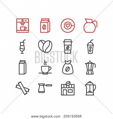 Editable Pack Of Mocha, Soft Beverage, Paper Box And Other Elements.  Vector Illustration Of 16 Drink Icons.