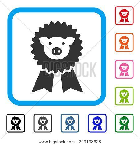 Pig Award Seal icon. Flat grey iconic symbol inside a light blue rounded square. Black, gray, green, blue, red, orange color versions of Pig Award Seal vector. Designed for web and app interfaces.