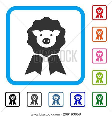 Pig Award Stamp icon. Flat gray pictogram symbol in a light blue rounded frame. Black, gray, green, blue, red, orange color additional versions of Pig Award Stamp vector.