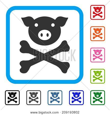Pig Death icon. Flat gray iconic symbol in a light blue rounded frame. Black, gray, green, blue, red, orange color additional versions of Pig Death vector. Designed for web and application interfaces.
