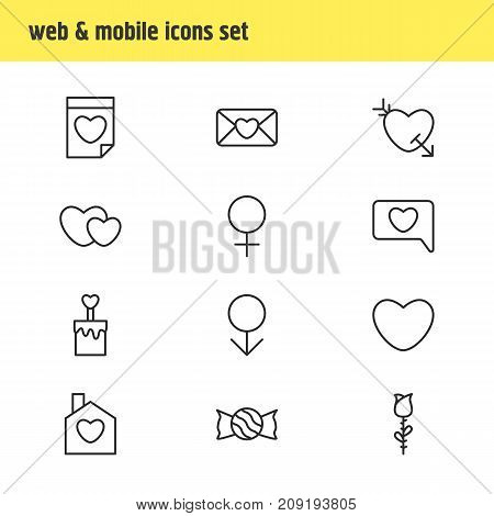Editable Pack Of Valentine, Messenger, Lollipop And Other Elements.  Vector Illustration Of 12 Amour Icons.