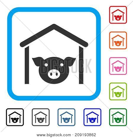 Pig Farm icon. Flat gray iconic symbol inside a light blue rounded squared frame. Black, gray, green, blue, red, orange color versions of Pig Farm vector. Designed for web and application UI.
