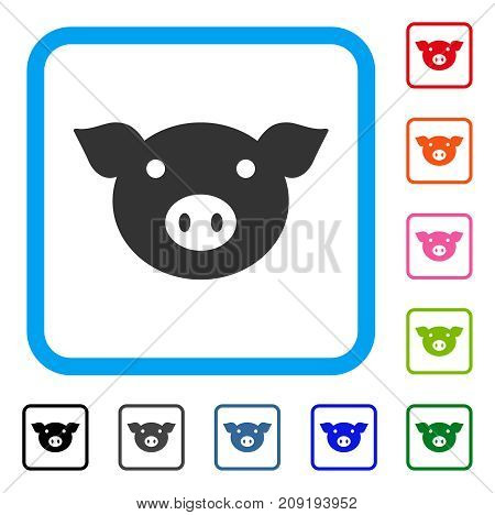Pig Head icon. Flat gray pictogram symbol in a light blue rounded rectangle. Black, gray, green, blue, red, orange color variants of Pig Head vector. Designed for web and software interfaces.