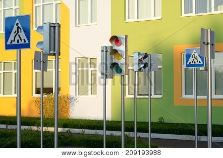 Traffic signs multicolored training kindergarten yellow orange lantern