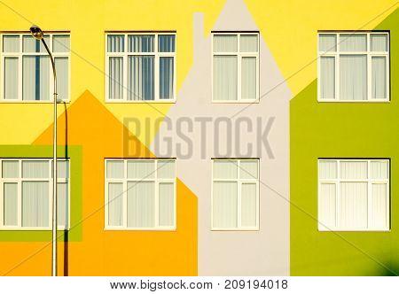 Multicolored house kindergarten yellow orange lantern beautiful