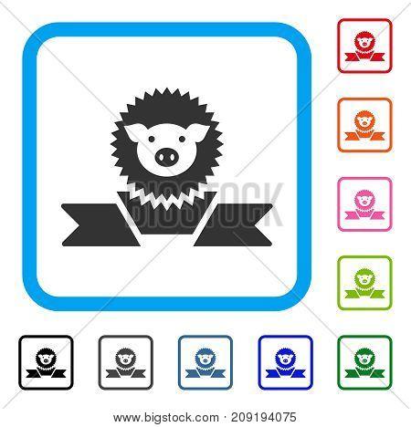 Pig Reward Ribbon icon. Flat gray iconic symbol inside a light blue rounded frame. Black, gray, green, blue, red, orange color variants of Pig Reward Ribbon vector.