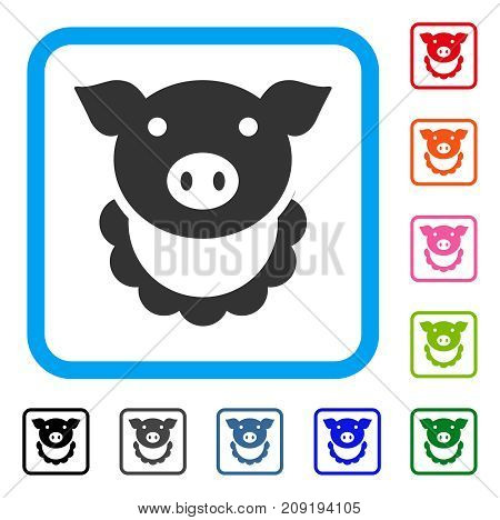 Pig Reward icon. Flat grey pictogram symbol inside a light blue rounded squared frame. Black, gray, green, blue, red, orange color variants of Pig Reward vector.