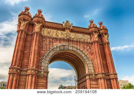 Arc De Triomf, Iconic Triumphal Arc In Barcelona, Catalonia, Spain
