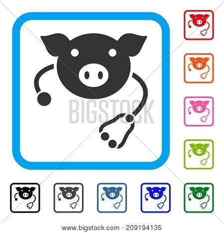 Pig Veterinary icon. Flat gray iconic symbol in a light blue rounded rectangle. Black, gray, green, blue, red, orange color additional versions of Pig Veterinary vector.