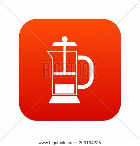 French press coffee maker icon digital red for any design isolated on white vector illustration