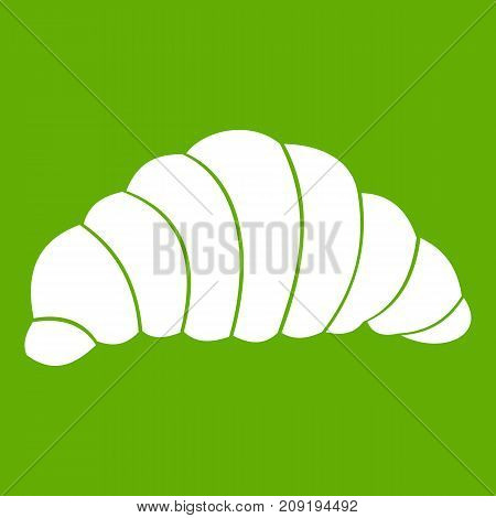 Croissant icon white isolated on green background. Vector illustration