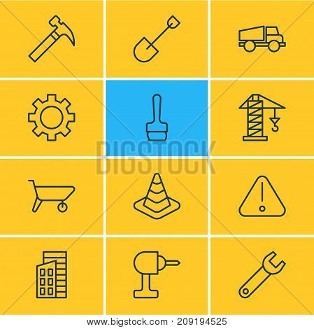 Editable Pack Of Cogwheel, Electric Screwdriver, Lifting And Other Elements.  Vector Illustration Of 12 Structure Icons.